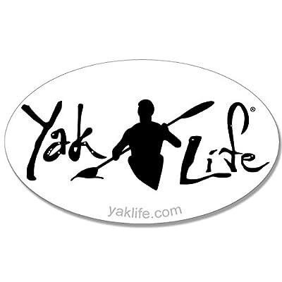 American Vinyl Licensed Oval White Yak Life Sticker (Kayak Kayaking Decal): Automotive