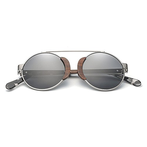 para de metálico madera Classic Gafas sol Gafas de de de protección redondo Gafas sol Gafas de de UV marco sol de polarizadas vendimia unisex sol de conduc Gris sol de la Hombres las mujeres Retro gafas de qUXz6w6