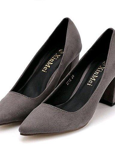 GGX/Damen Schuhe Fleece Chunky Heel Heels Heels Outdoor/Casual Schwarz/Grau black-us6 / eu36 / uk4 / cn36