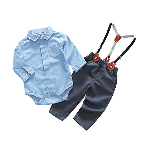 Baby Boy Casual Suit 2pcs Cotton Long Sleeve Solid Color Onesie Shirt Pant with Suspenders Outfits Clothes Set (12/18M) Blue
