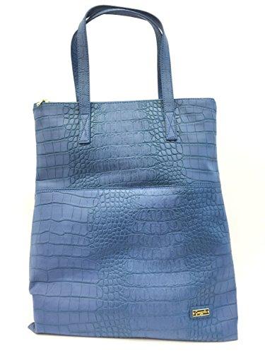 Borsa donna Camomilla, a Spalla e Tracola, Shopper Croco Easy Blue, Ecopelle blu chiusura zip COD.19279
