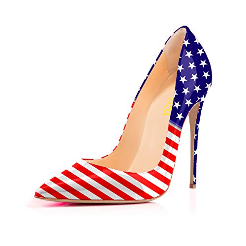 Cow on Heels High Printing White Flag Women's Shoes YCG Slip Pumps America Pattern wMqIgcp4