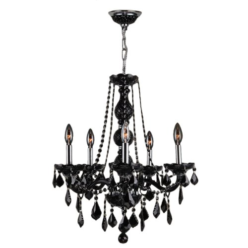 (Worldwide Lighting Provence Collection 5 Light Chrome Finish and Black Crystal Chandelier 21