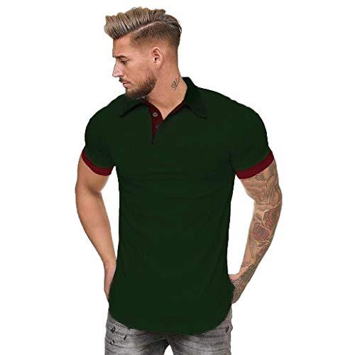 Men's Patchwork Shirt Double Color T-Shirts Top Blouses Men's Short Sleeve Slim Patchwork T Shirt (M, Green)