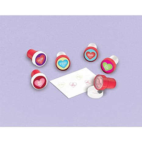 Amscan Valentine's Day Stamper Set Party Favor Giveaway (6 Pieces), Multicolor, 1