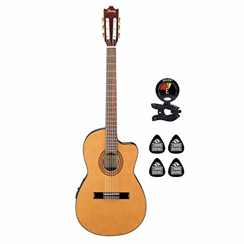Ibanez GA5TCE 6 String Thinline Classical Acoustic Electric Guitar with Undersaddle Pickup AEQ303 Preamp with 3-Band EQ Guitar Package with Clip on Guitar Tuner & 4 Zorro Sounds Guitar Picks - Natural