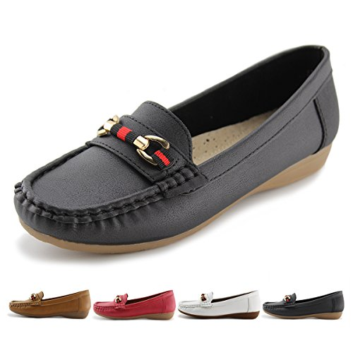 Slip Shoes Casual Womens Lined On Jabasic Black 1 Driving Leather Flat Loafers qTyfyA5