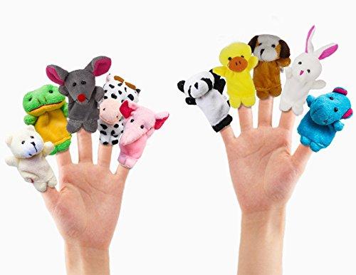 10pcs Story Time Finger Puppets -- Cartoon Animal Soft Velvet Dolls Props Toys for Kids, Babies, Toddlers