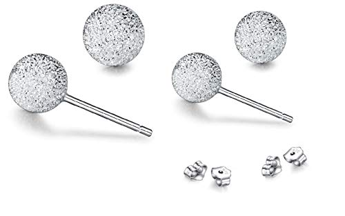 (Sterling Silver Set of Two Ball Stud Earrings with Laser Cut Finish (5mm,)