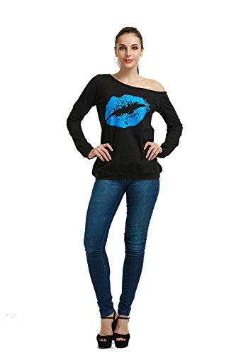 MAGICMK Women's Sexy Pullover Lips Print Casual Off The Shoulder Slouchy Shirt (s, Blue)