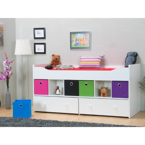 halbhohes bett marianne 90 x 200 bettgestell jugendbett einzelbett bett wei bettmix. Black Bedroom Furniture Sets. Home Design Ideas