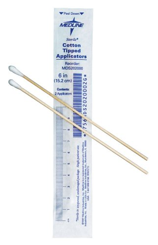 Cotton Tipped Applicators (Medline MDS202000 Cotton Tip Applicators, Sterile, 6