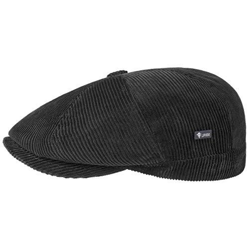 Lipodo Men s 8-Panel Cord Flat Cap   Cotton Flat Cap   Italian-Made Ivy Cap   Plain Color Peaked Cap   Fall/Winter   Regular-fit Style   Lined Winter hat Black L (7 1/4-7 3/8)