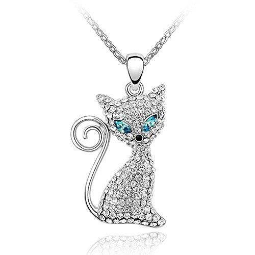 Sparkling Clear and Blue Eyed Kitty Charm Pendant Necklace - Bug Cat Eyed