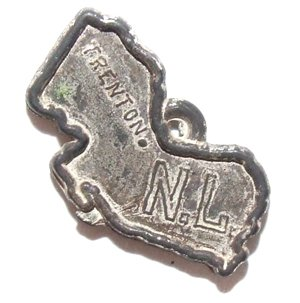 Vintage Plastic New Jersey State Shaped Toy Charm (Vintage Plastic Charms)
