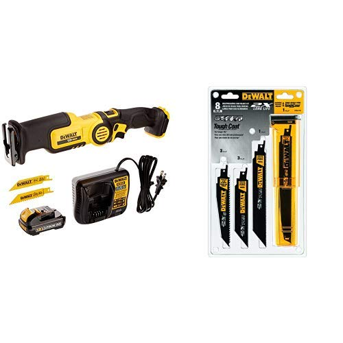DEWALT DCS310S1 12-Volt MAX Pivot Reciprocating Saw Kit with DEWALT DWA4101 Bi-Metal 2X Reciprocating Saw Blade Set, 8-Piece