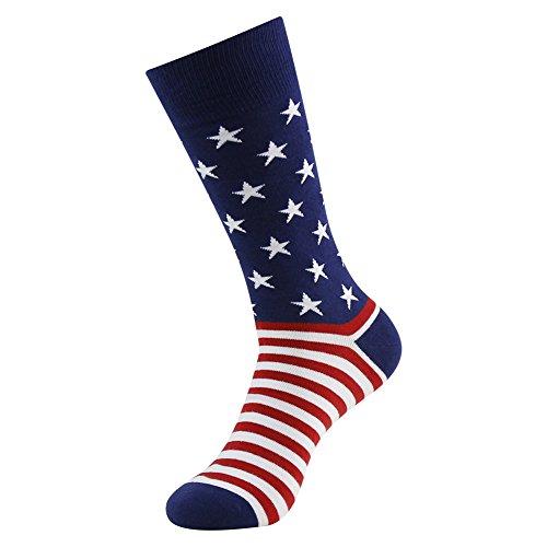 Business Gift Socks, LANDUNCIAGA Men Crew Classic Patriotic American Flag Socks Stars Stripe Design Funny Novelty Cotton Crew Bridegroom Groomsmen Socks Mid Calf,6 Pairs by LANDUNCIAGA (Image #3)