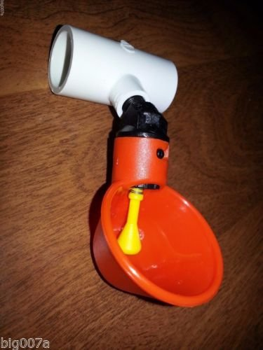 "3 Automatic Bird Water Cups with 1/2"" PVC Pipe Tee Poultr..."