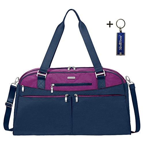 Baggallini Carry All Duffle Weekender Handbag Key Fob & Chain (Magenta Multi)