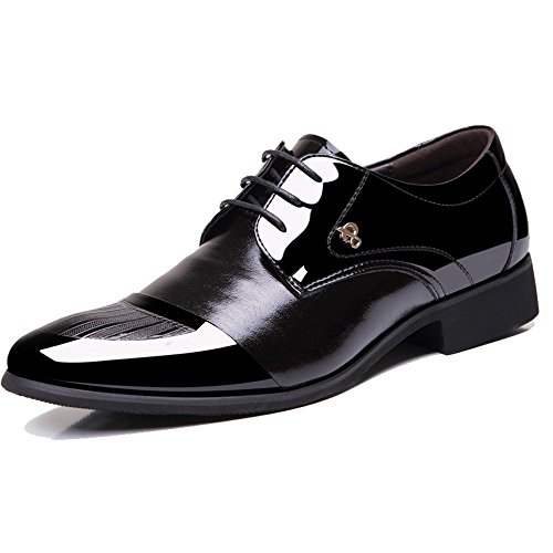 YangXieJiang Mens Patent Leather Tuxedo Dress Shoes Lace up pointed Toe Oxfords 1877(39CN(7US=24.5CM), dark black)