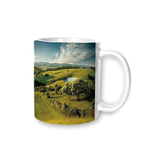 - Green Practical Mark Cup,Scenic Scenery Hilly Landscape with Lake and Blue Cloudy Sky Trees Meadow Countryside For Hold Water,Z(diameter)8.2G9.5
