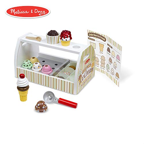 - Melissa & Doug Wooden Scoop & Serve Ice Cream Counter (Play Food and Accessories, 28 Pieces, Realistic Scooper, 13.6