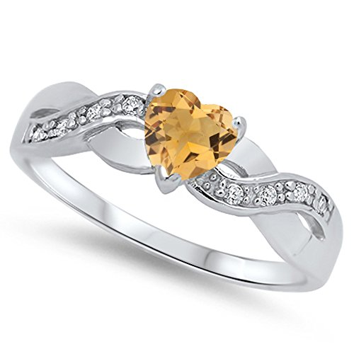 - 925 Sterling Silver Faceted Natural Genuine Yellow Citrine Infinity Knot Heart Promise Ring Size 4