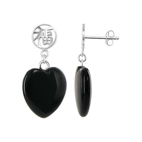 - Gem Avenue 925 Silver Post Back Black Onyx 14mm Heart with Chinese Script Lucky Dangle Earrings for Women