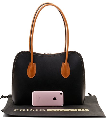 Primo Sacchi Italian Smooth Black with Leather Classic Long Handled Handbag Tote Grab Shoulder Bag
