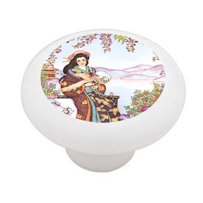 Oriental Bird Handler Decorative High Gloss Ceramic Drawer Knob (Pheasant Knob compare prices)