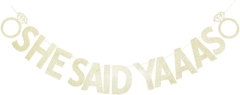 She Said Yaaas Banner, Gold Glitter Sign Garland for Wedding Party, Bridal Shower Party Decors, Bachelorette Engagement Party Supplies