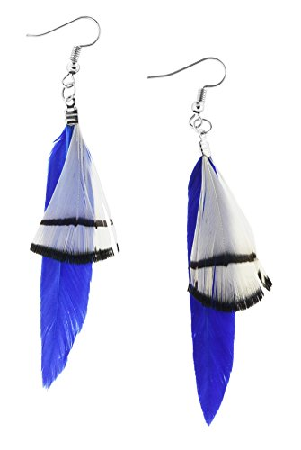 Unique Cute Beaded Feather Earrings Sexy Fashion Jewelry for Women Teens Girls (Contrast Blue) (Cute Indian Costumes For Girls)