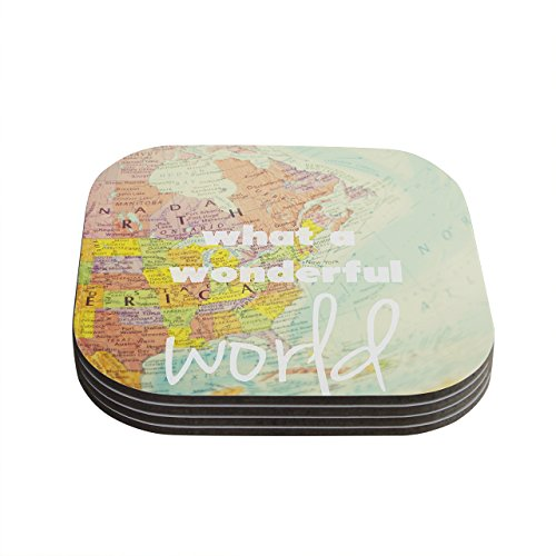 kess-inhouse-libertad-leal-what-a-wonderful-world-map-coasters-4-by-4-inch-teal-yellow-set-of-4