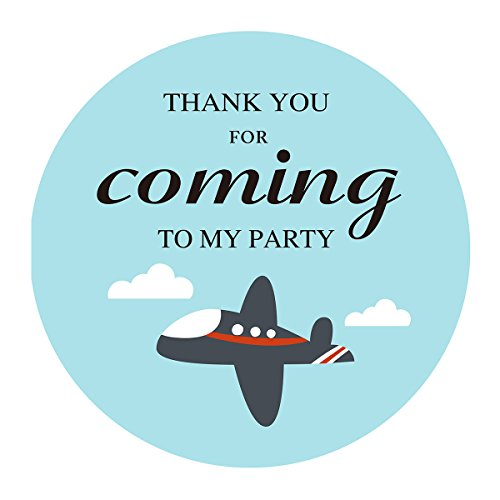 MAGJUCHE Plane Themed Thank You Sticker, Blue Airplane