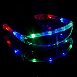 Fun Central G731 LED Light Up Spaceman Shades, Light Up Shades, LED Shades for Parties, Rave Party Light Up Shades
