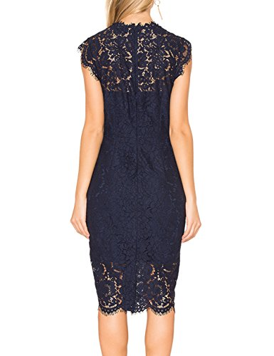 MEROKEETY Women's Sleeveless Lace Floral Elegant Cocktail Dress Crew Neck Knee Length for Party 3