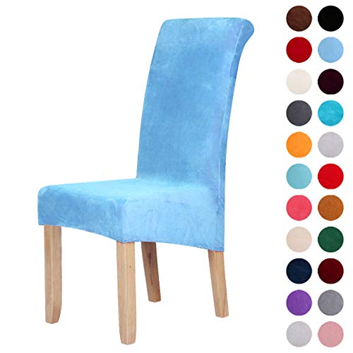 Velvet Stretch Dining Chair Slipcovers - Spandex Plush Short Chair Covers Solid Large Dining Room Chair Protector Home Decor Set of 4, Sky Blue ()