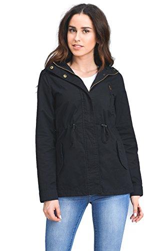 B.I.L.Y BILY Women Junior Fit Military Anorak Safari Hoodie Jacket Black 2X (Womens Anorak)