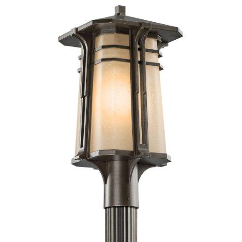 Kichler Lighting 49178OZ North Creek 20-Inch High Light Outdoor Post Lantern, Olde Bronze with Light Umber-Etched Seedy Glass Olde Bronze Deck Light