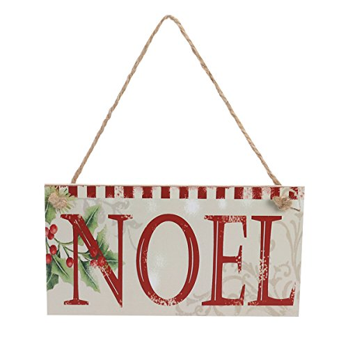 LUOEM Merry Christmas Welcome Sign Hanging Wall Plaque Decoration with Jute Rope Hanger for Party Holidays ()