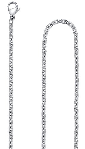 Stainless Steel 2mm and 3mm Rolo Cable Chain Necklace, Set of Two, 16'', - Cable Stainless 16'