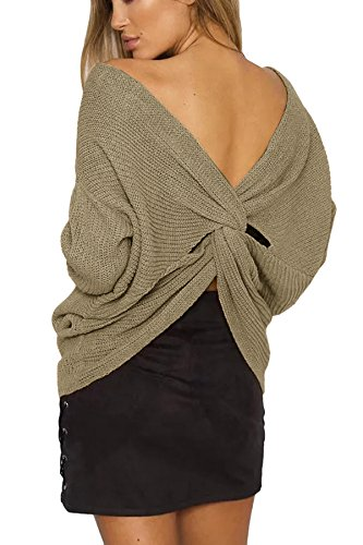 Pull Longues Nu Dos Sxey Manches Kaki cou Tricoter V Pull Femme Chandail Pullover TXxdfnWX