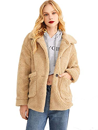Pocket Front Teddy Coat Button