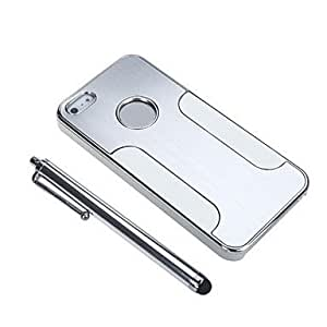 ZCL- Lujo Brushed Aluminum Hard Case Cover + Stylus Pen + Silver Screen Film para iPhone 5/5S/5G