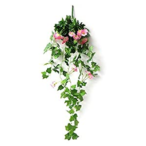 DaJun Artificial Vines, 2 Pcs Morning Glory Simulation Hanging Plants 35.43in with 1 Pcs Basket, Silk Garland Planter Bonsai for Outdoor Indoor Wedding Party Garden Wall Decoration 1