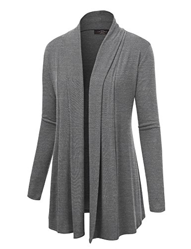 Lock and Love WSK1301 Womens Open Draped Knit Shawl Cardigan XL Heather_Dark_Grey by Lock and Love (Image #1)