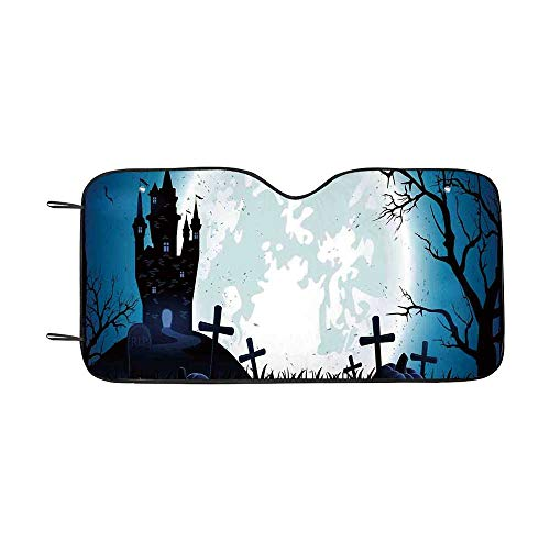 Halloween Decorations Durable Car Sunshade,Spooky Concept with Scary Icons Old Celtic Harvest Figures in Dark Image for car,55