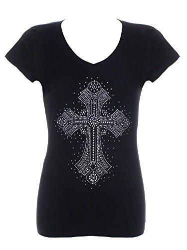 Women's Fancy Cross Rhinestone Bling V-Neck Black T-Shirt Small