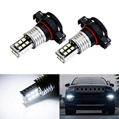 iJDMTOY (2) Xenon White 15-SMD High Power LED Replacement Bulbs For 2017-up Jeep Compass Daytime Running Lights ()