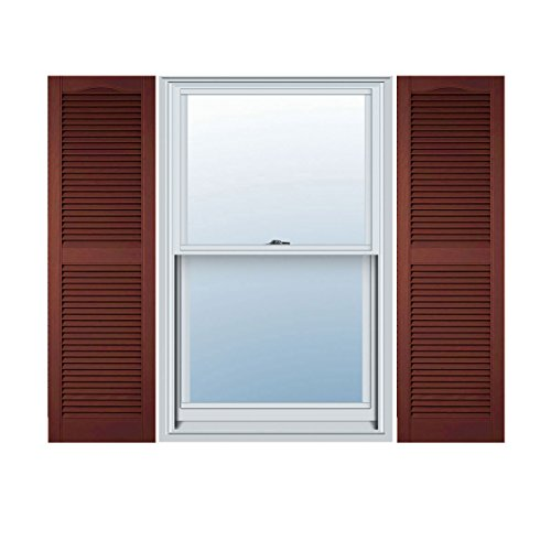 Burgundy Red Louvered Shutter - Ekena Millwork LL1S12X03600RD Lifetime Vinyl Standard Cathedral Top Center Mullion with Open Louver Shutters, 12